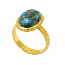 925 Sterling Silver Oval Shape Blue Copper Turquoise Gemstone Gold Plated Ring
