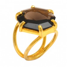 Faceted Hexagon Shape Smoky Quartz Gemstone 925 Silver Gold Plated Ring