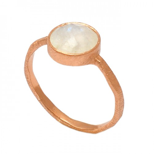 Round Shape Rainbow Moonstone 925 Sterling Silver Rose Gold Plated Ring