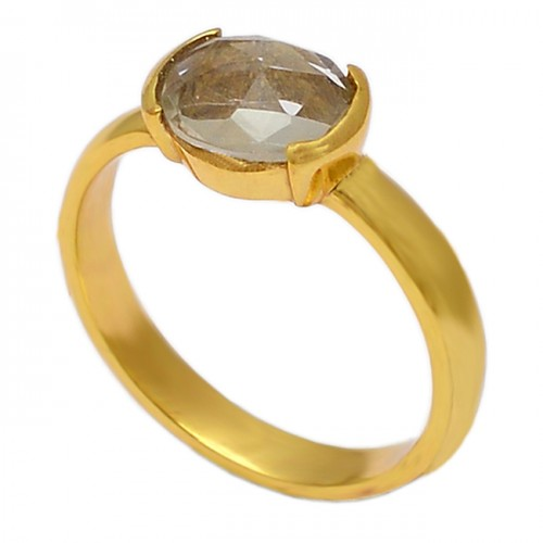 Oval Shape Citrine Gemstone 925 Sterling Silver Gold Plated Designer Ring Jewelry
