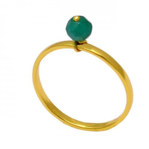 Faceted Round Balls Shape Green Onyx Gemstone 925 Silver Gold Plated Ring