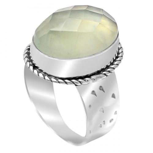 Prehnite Chalcedony Oval Shape Gemstone 925 Sterling Silver Rings Jewelry