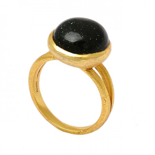Round Shape Blue Sand Gemstone 925 Sterling Silver Gold Plated Ring