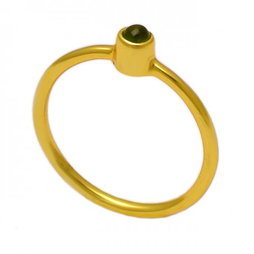 Round Shape Peridot Gemstone 925 Sterling Silver Gold Plated Ring Jewelry