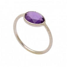 Oval Shape Amethyst Gemstone 925 Sterling Silver Handmade Ring Jewelry