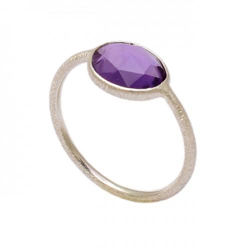 Oval Shape Amethyst Gemstone 925 Sterling Silver Handmade Ring Jewelry