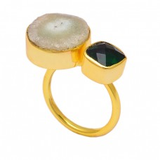 Green Onyx Whire Slice Gemstone 925 Sterling Silver Gold Plated Designer Ring