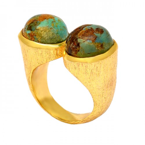 Blue Copper Turquoise Round Shape Gemstone 925 Sterling Silver Gold Plated Ring