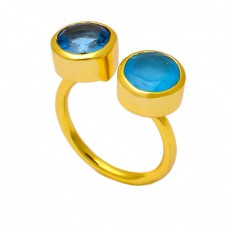Blue Color Quartz Chalcedony Gemstone 925 Sterling Silver Gold Plated Ring