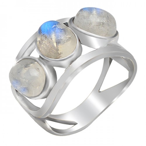 Oval Cabochon Rainbow Moonstone 925 Sterling Silver Handcrafted Rings Jewelry