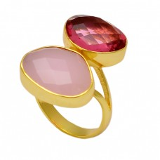 Fancy Shape Chalcedony Pink Quartz Gemstone 925 Silver Gold Plated Ring