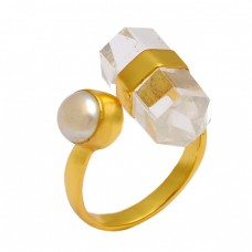Crystal Pearl Gemstone 925 Sterling Silver Gold Plated Designer Ring Jewelry
