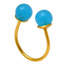 Faceted Round Balls Shape Aqua Chalcedony Gemstone 925 Silver Gold Plated Ring