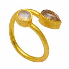 Rainbow Moonstone Citrine 925 Sterling Silver Gold Plated Band Ring Jewelry