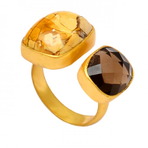 925 Sterling Silver Smoky Quartz Brecciated Mookaite Gemstone Gold Plated Ring