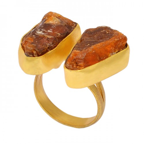 Citrine Rough Gemstone 925 Sterling Silver Gold Plated Handmade Ring Jewelry