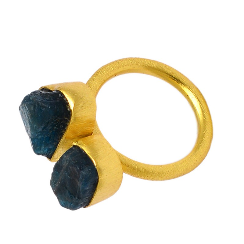 Raw Material Blue Apatite Rough Gemstone 925 Sterling Silver Gold Plated Handmade Ring