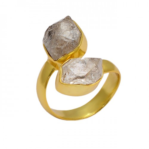 925 Sterling Silver Herkimer Diamond Rough Gemstone Gold Plated Ring Jewelry