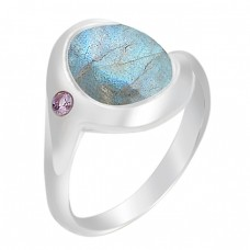Fashionable Labradorite Amethyst Gemstone 925 Sterling Silver Rings Jewelry