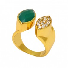 Green Onyx Cubic Zirconia Gemstone 925 Sterling Silver Gold Plated Ring Jewelry
