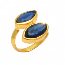 Faceted Marquise Shape Iolite Gemstone 925 Sterling Silver Gold Plated Rings