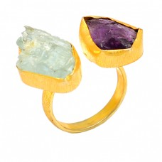 Handcrafted Designer Auamarine Amethyst Rough Gemstone 925 Silver Gold Plated Rings