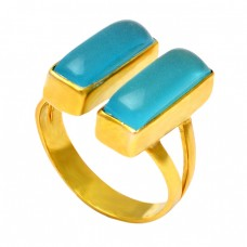 Cabochon Rectangle Shape Aqua Chalcedony Gemstone 925 Silver Gold Plated Ring