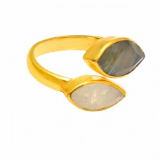 Marquise Shape Labradorite Moonstone 925 Sterling Silver Gold Plated Ring Jewelry