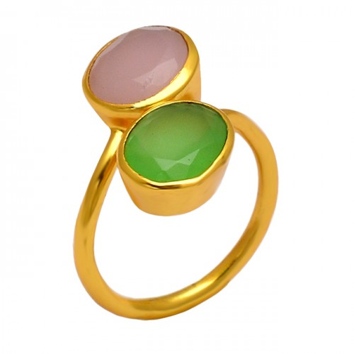 Rose Prehnite Color Chalcedony Gemstone 925 Silver Gold Plated Band Ring Jewelry