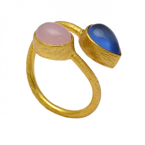 Pear Oval Chalcedony Gemstone 925 Sterling Silver Gold Plated Band Ring Jewelry