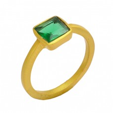 Green Apatite Square Shape Gemstone 925 Sterling Silver Gold Plated Ring Jewelry