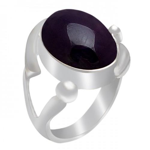 Amethyst Oval Cabochon Gemstone 925 Sterling Silver Designer Rings Jewelry