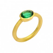 Green Apatite Oval Shape Gemstone 925 Sterling Silver Gold Plated Ring Jewelry
