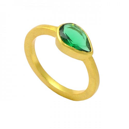 Green Apatite Pear Shape Gemstone 925 Sterling Silver Gold Plated Ring Jewelry
