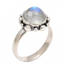 Round Shape Rainbow Moonstone 925 Sterling Silver Handmade Ring Jewelry