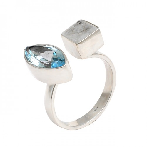Blue Topaz Rainbow Moonstone 925 Sterling Silver Designer Ring Jewelry