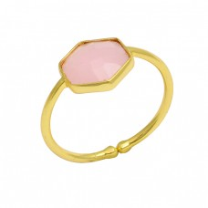 Hexagon Shape Rose Chalcedony Gemstone 925 Sterling Silver Gold Plated Ring