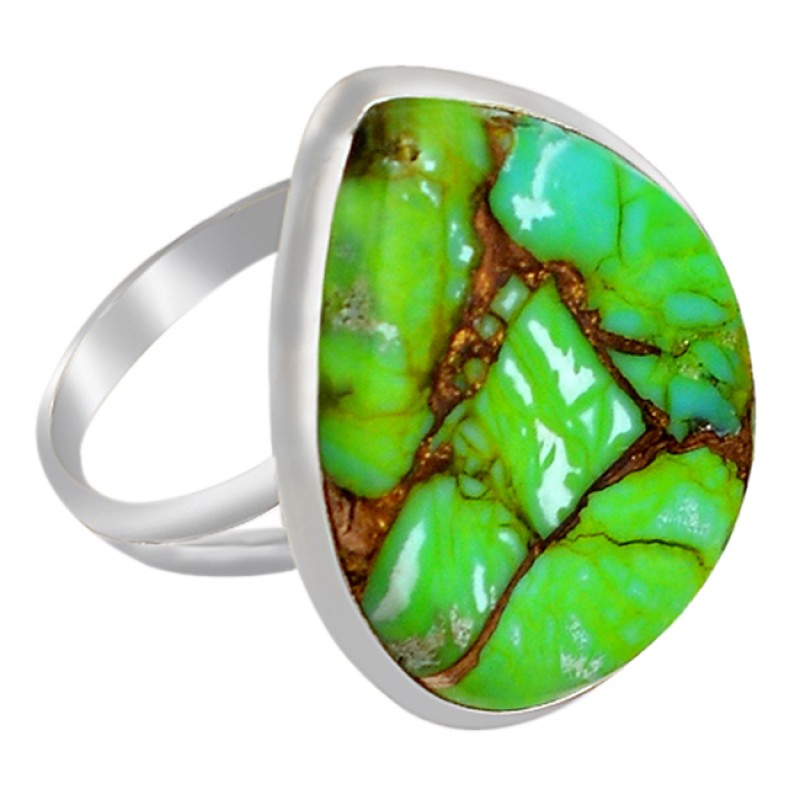 Pear Cabochon Green Copper Turquoise Gemstone 925 Sterling Silver Ring Jewelry