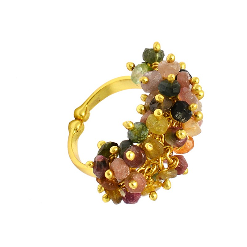 Faceted Roundel Beads Multi Tourmaline Gemstone 925 Silver Gold Plated Adjustable Rings