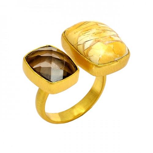 Smoky Quartz Bracited Mookite Gemstone 925 Sterling Silver Gold Plated Ring