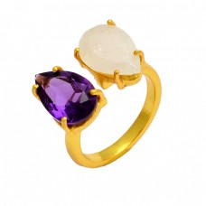 Prong Setting Amethyst Rainbow Moonstone 925 Sterling Silver Gold Plated Ring