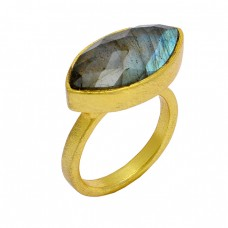 925 Sterling Silver Marquise Shape Labradorite Gemstone Gold Plated Ring