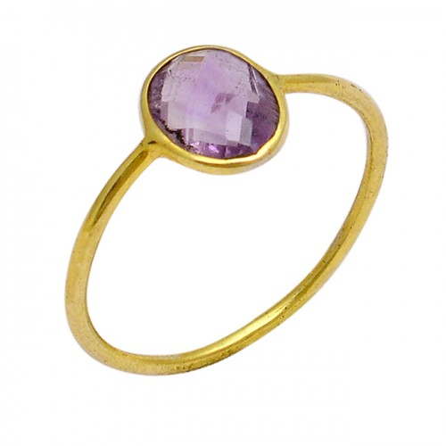 Oval Shape Amethyst Gemstone 925 Sterling Silver Gold Plated Ring Jewelry