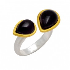 Pear Cabochon Black Onyx Gemstone 925 Sterling Silver Gold Plated Ring Jewelry