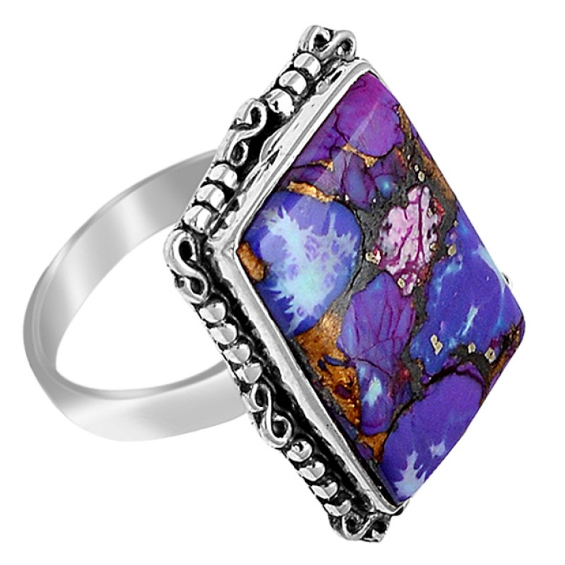Cabochon Rectangle Purple Copper Turquoise Gemstone 925 Sterling Silve Ring Jewelry