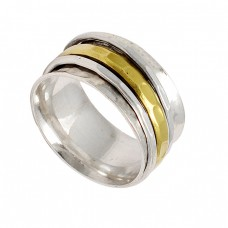 Handmade Designer Plain 925 Sterling Silver Gold Plated Spinner Rings Jewelry