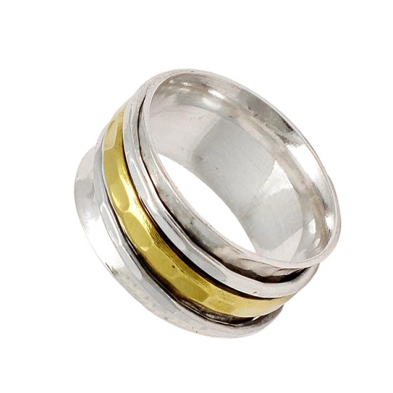 Handmade Designer Plain 925 Sterling Silver Gold Plated Spinner Rings Jewelry