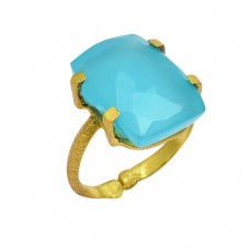 Rectangle Shape Aqua Chalcedony Gemstone 925 Silver Gold Plated Ring Jewelry