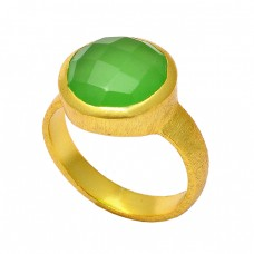 Prehnite Chalcedony Round Shape Gemstone 925 Sterling Silver Gold Plated Ring