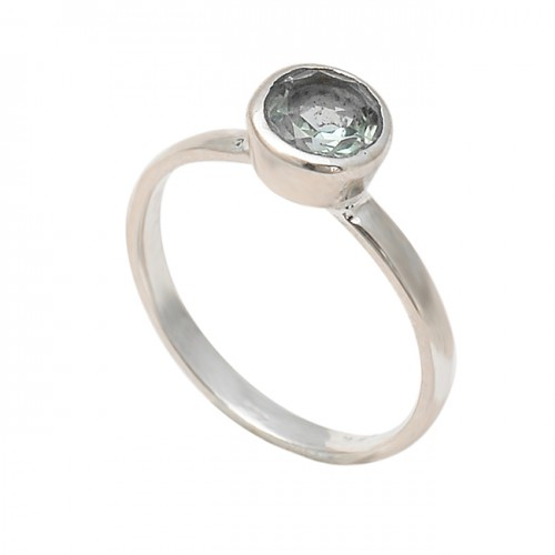 Faceted Round Shape Crystal Quartz Gemstone 925 Sterling Silver Ring Jewelry